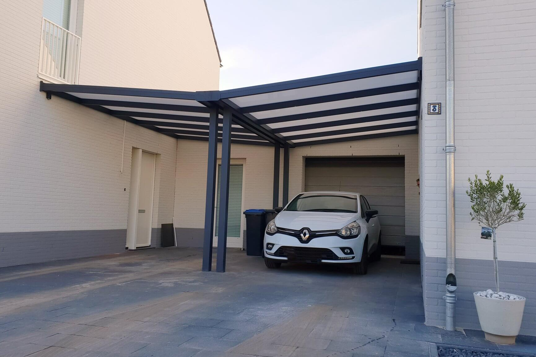white car in the carport with glass roof